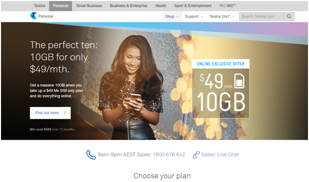 $49 plan by Telstra