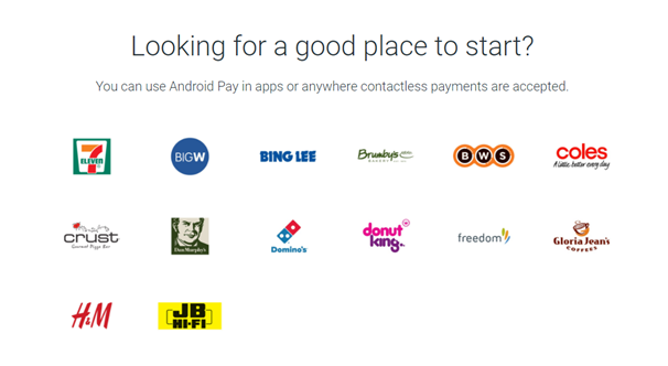Android Pay stores to shop