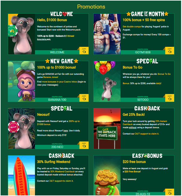 Fair Go Casino Promotions