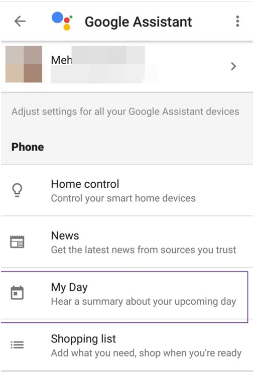 Google Assistant- My day