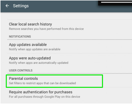 Parental lock on Google Play