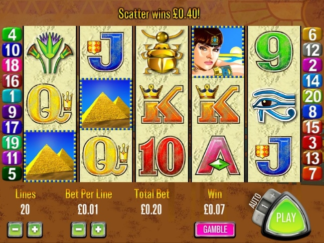Queen of the Nile Symbols and Betting Range