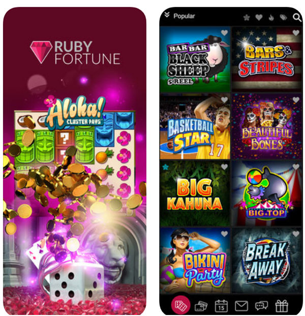 Ruby Fortune Casino pokies for Android
