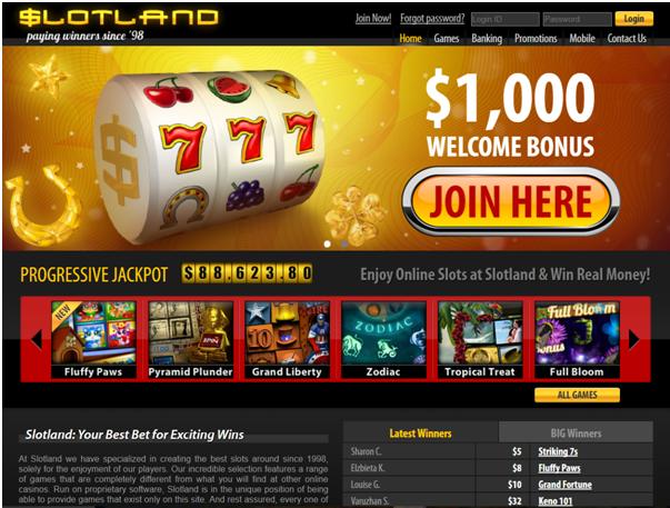 Slotland Casino Bonus offers