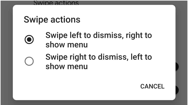 Swipe actions on Android Q