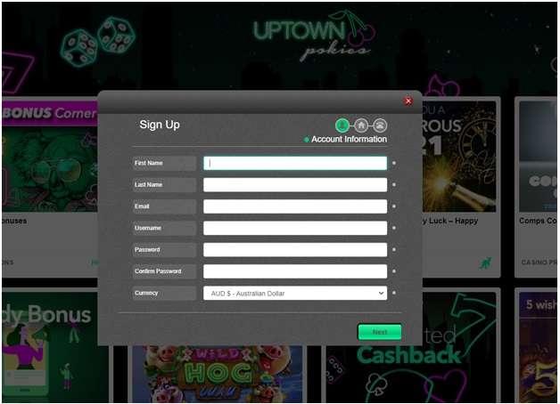 Uptown pokies- Getting started