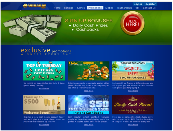 Win A Day Casino Bonuses